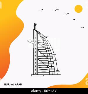 Travel BURJ AL ARAB Poster Template - Stock Photo