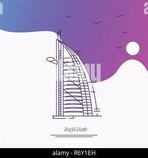 Travel BURJ AL ARAB Poster Template. Purple creative background - Stock Photo