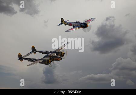 P38 Lightning and Nakajima Oscar - Stock Photo