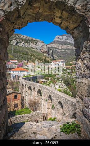 Remains of aqueduct in Stari Bar - Stock Photo