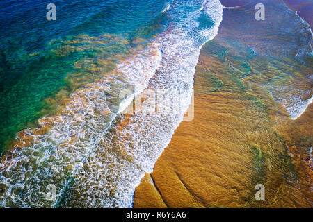 Sea sand and surf aerial photo - Stock Photo
