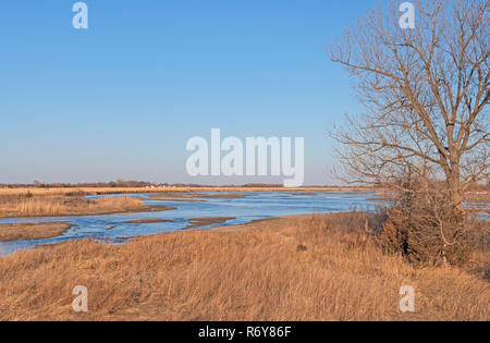 Meandering Western River in the Early Spring - Stock Photo