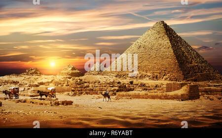 Pyramid in desert - Stock Photo