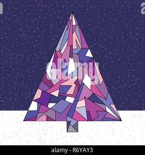 Christmas tree vector illustration in modern style. Hand drawn Happy New Year background. Winter Xmas holidays design. - Stock Photo