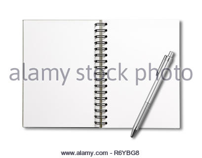 Blank open spiral notebook and pen isolated on white - Stock Photo