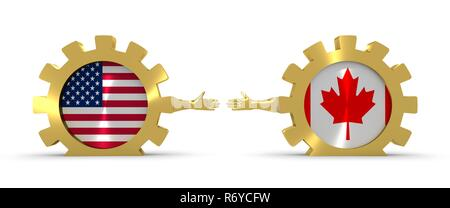 Web Banner, Header Layout Template. Politic and economic relationship between USA and Canada. National flags on golden cog wheels. 3D rendering - Stock Photo