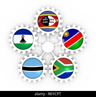 Southern African Customs Union members - Stock Photo