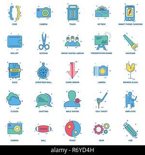 25 Business Concept Mix Flat Color Icon set - Stock Photo