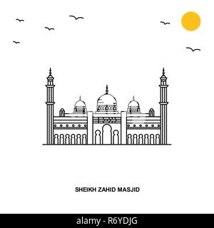 SHEIKH ZAHID MOSQUE Monument. World Travel Natural illustration Background in Line Style - Stock Photo