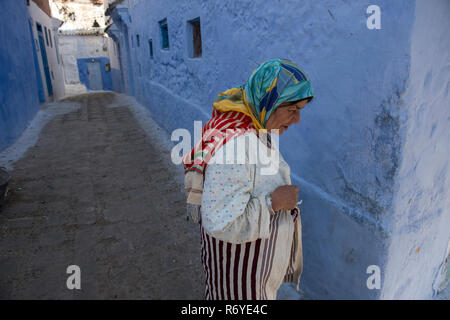 Blue painted and whitewashed streets characterize Chouen in the Rif Mountains, Morocco - Stock Photo