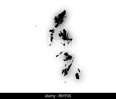 map of the hebrides with shadow - Stock Photo