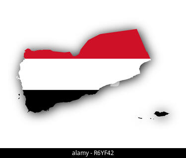 map and flag of yemen - Stock Photo