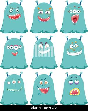 Set of blue cute aliens illustration - Stock Photo