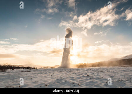 Geysir or sometimes known as The Great Geysir which is a geyser in Golden Circle southwestern Iceland - Stock Photo