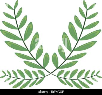 green branches leaves on white background vector illustration - Stock Photo