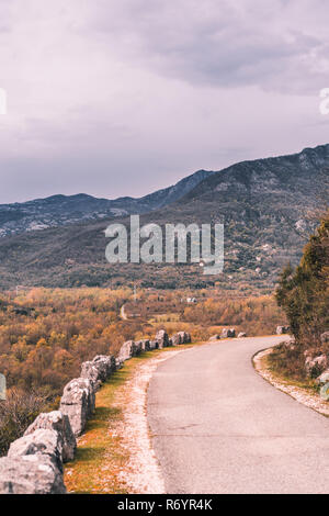 Winding road through  the Skadar Lake National Park - Stock Photo