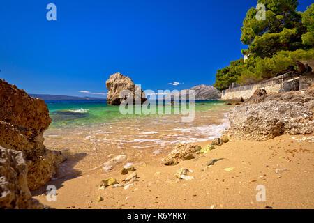 Sand beach in Brela view - Stock Photo