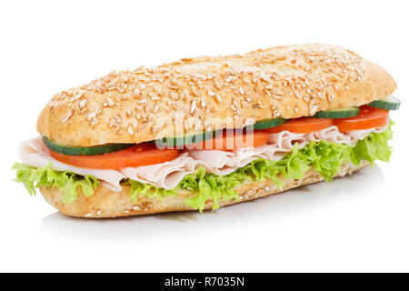 sandwich sandwich wholegrain baguette topped with ham freestanding - Stock Photo
