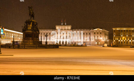 night view of St Isaac Square in St Petersburg - Stock Photo