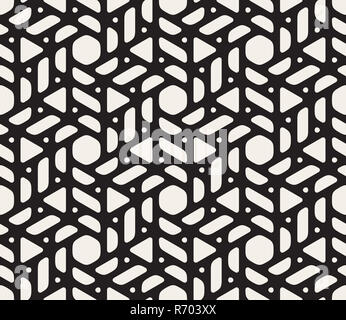 Vector Seamless Black and White Rounded Shapes Triangles and Circles Pattern - Stock Photo