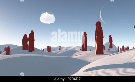 Figures in red robes in the white desert - Stock Photo