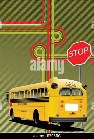 Yellow school bus and city junction  Vector illustration