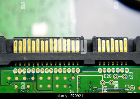 sata hard drive connector Electronic board with electrical components. Electronics of computer equipment - Stock Photo