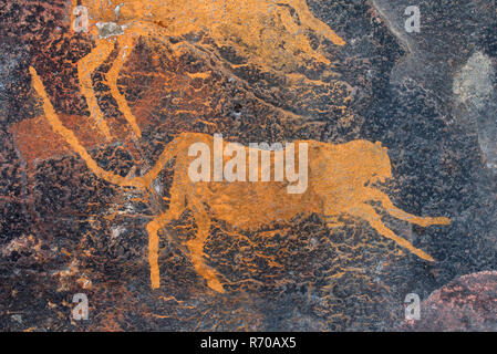 Rock painting of a cheetah - Stock Photo