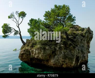 Kamen Brela - Tiny famous island in Brela, Makarska Riviera, Dalmatia, Croatia - Stock Photo