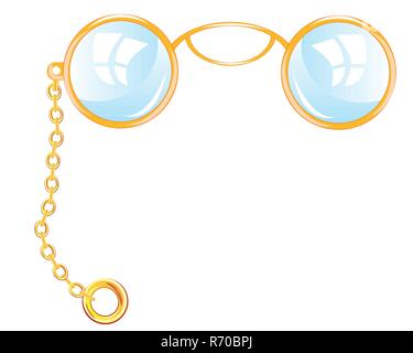 Spectacles pince-nez on white background is insulated - Stock Photo