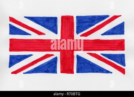 hand drawn flag of the United Kingdom (UK) aka Union Jack - Stock Photo