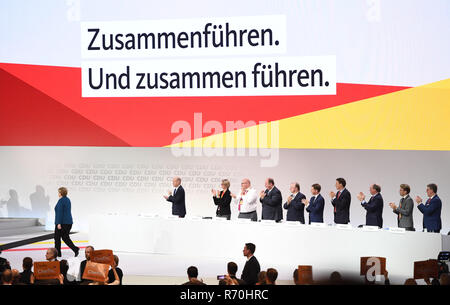 Hamburg, Germany. 07th Dec, 2018. German Chancellor Angela Merkel (CDU) will be speaking after her speech at the CDU federal party conference. The delegates elect a new party chairman in the afternoon. Credit: Rainer Jensen/dpa/Alamy Live News - Stock Photo