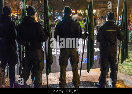 Helsinki, Finland. 6th Dec 2018. Neo Nazi Organistation Nordic Resistance Movement Demonstration in Helsinki on the Independence Day of Finland Credit: Pekka Liukkonen/Alamy Live News - Stock Photo