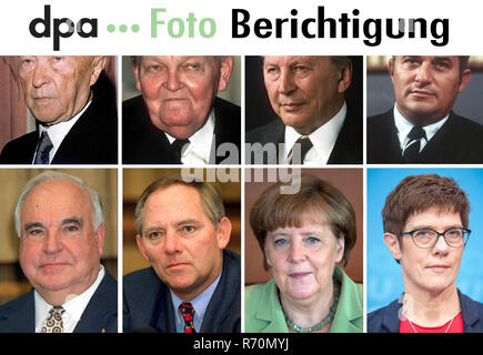 Germany. 07th Dec, 2018. Dear customers, in the picture combo sent on 07.12.2018 two names are wrongly indicated. In the lower row from left Helmut Kohl, Wolfgang Schäuble, Angela Merkel and Annegret Kramp-Karrenbauer can be seen. The photo will be sent to you again with the corrected text. We apologize for the mistake. Yours sincerely, Your dpa photo editor - Tel. 030 2852 31515 Credit: Dpa Team/dpa/Alamy Live News - Stock Photo