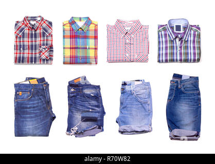 Collection of jeans and classic men's shirts isolated on white background. Top view