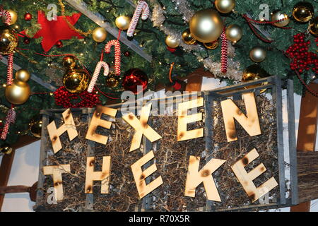 View of the Christmas decorations close-up on the Christmas - Stock Photo