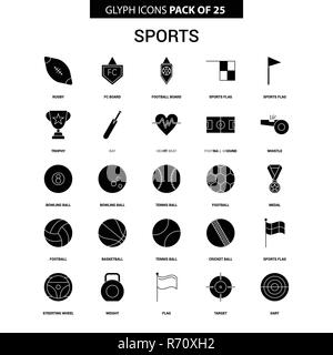 Sports Glyph Vector Icon set - Stock Photo