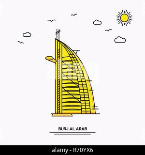 BURJ AL ARAB Monument Poster Template. World Travel Yellow illustration Background in Line Style with beauture nature Scene - Stock Photo