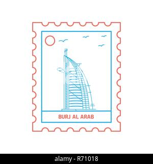 BURJ AL ARAB postage stamp Blue and red Line Style, vector illustration - Stock Photo