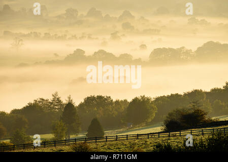 Long-distance, foggy, early morning view over scenic rural Wharfedale, the valley shrouded in mist or fog - near Ilkley, West Yorkshire, England, UK - Stock Photo