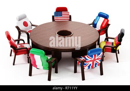 G7 flags standing around round table. 3D illustration. - Stock Photo