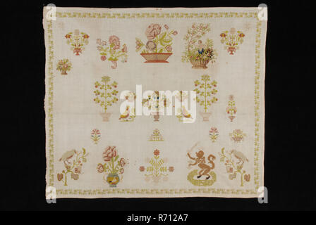 Unfinished sampler worked in fine cross stitch in colored silk on finely woven unbleached cotton, sampler embroidery needlework imagery silk cotton, textile embroidery cross stitch Mark of unbleached finely woven cotton with 21 threads on 1 cm. The cloth has selvedge on the left and narrow hem edge of 0.4 cm on the other sides. The rag is symmetrically arranged but not all motifs correspond to left and right. Moreover, the cloth is not completely completed. number of motifs are missing on the left. The cloth is embroided in fine cross stitch with silk in the colors black dark pink middle golde - Stock Photo