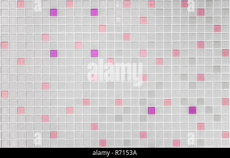 Texture of small squares of mosaic in white and pink saumon ceramic tiles. - Stock Photo