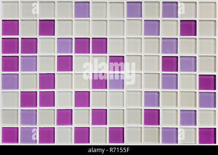 Texture of small squares of mosaic in white and pink purple ceramic tiles. - Stock Photo