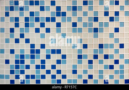 Texture of small squares of mosaic in white and navy ceramic tiles. - Stock Photo