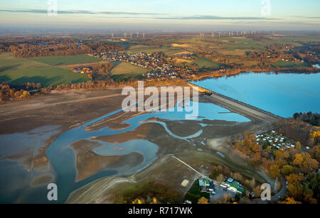 Aerial view, low water in the Möhnesee reservoir, Stockumer Damm, Arnsberger Wald nature park Park, Möhnesee, Sauerland - Stock Photo