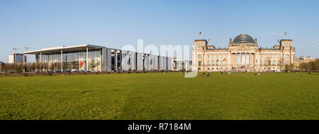 Regierungsviertel, Reichstag and Paul Löbe House, Square of the Republic or Platz der Republik, Berlin, Germany - Stock Photo