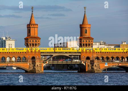 Oberbaum bridge over the river Spree, Subway Line 1, Berlin, Germany - Stock Photo