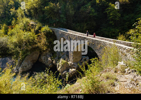 Arch bridge, old stone bridge Danilo bridge over the river Mrtvica, Mrtvica gorge, near Kolasin, Montenegro - Stock Photo