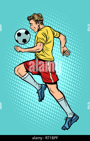 Retro football player with a soccer ball - Stock Photo
